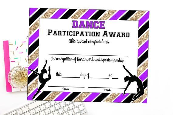 INSTANT DOWNLOAD Dance Team Certificate Dance Award