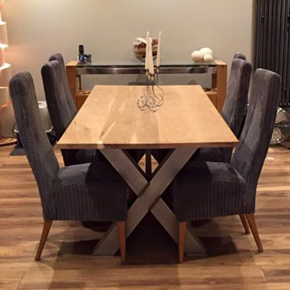 X Frame Industrial Style Dining Table