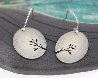 Leafy Branches sterling silver hand pierced oval earrings