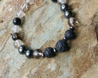 Essential Oil Diffuser Bracelet Lava Rock Black and Clear Rutilated Quartz Hemitite Natural Stone Stretch Beaded Bracelet.