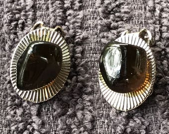 Vintage 1970's Clip-On Earrings/ Amber Stone