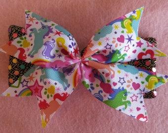 Unicorn Rainbow Glitter Hair Bow