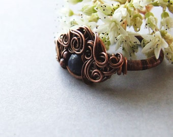 Lapis Lazuli Ring, Wire Wrapped Stacking Dark Blue Copper Ring, Lapis Lazuli Jewelry