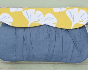 Sweetheart Clutch- Yellow Gingko Leaf & Gray Linen