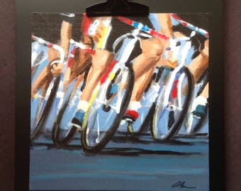 Cycling Art Painting - Original Acrylic On Paper - Peloton Race