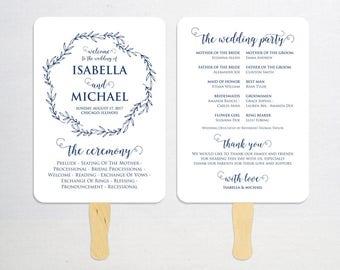 Navy Blue Wedding Program Fan Template, Calligraphy Script Printable Program, Instant Download, Ceremony Program Fan, Kraft Paper, WPC_1175