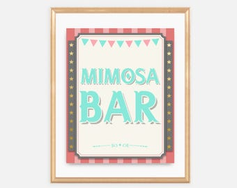 Mimosa Bar - Circus Baby Shower, baby shower drinks, carnival, fair, soft pink, red, teal, aqua, colorful, fun, gender neutral, 047