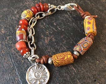 Antique African Trade Beads, Tribal Bracelet, Rustic Leather Bracelet, Carnelian Bracelet, Orange Bracelet