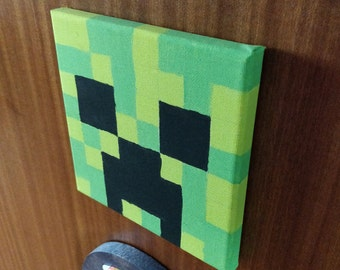 Hand Painted Minecraft Creeper style Canvas 15 x 15cm