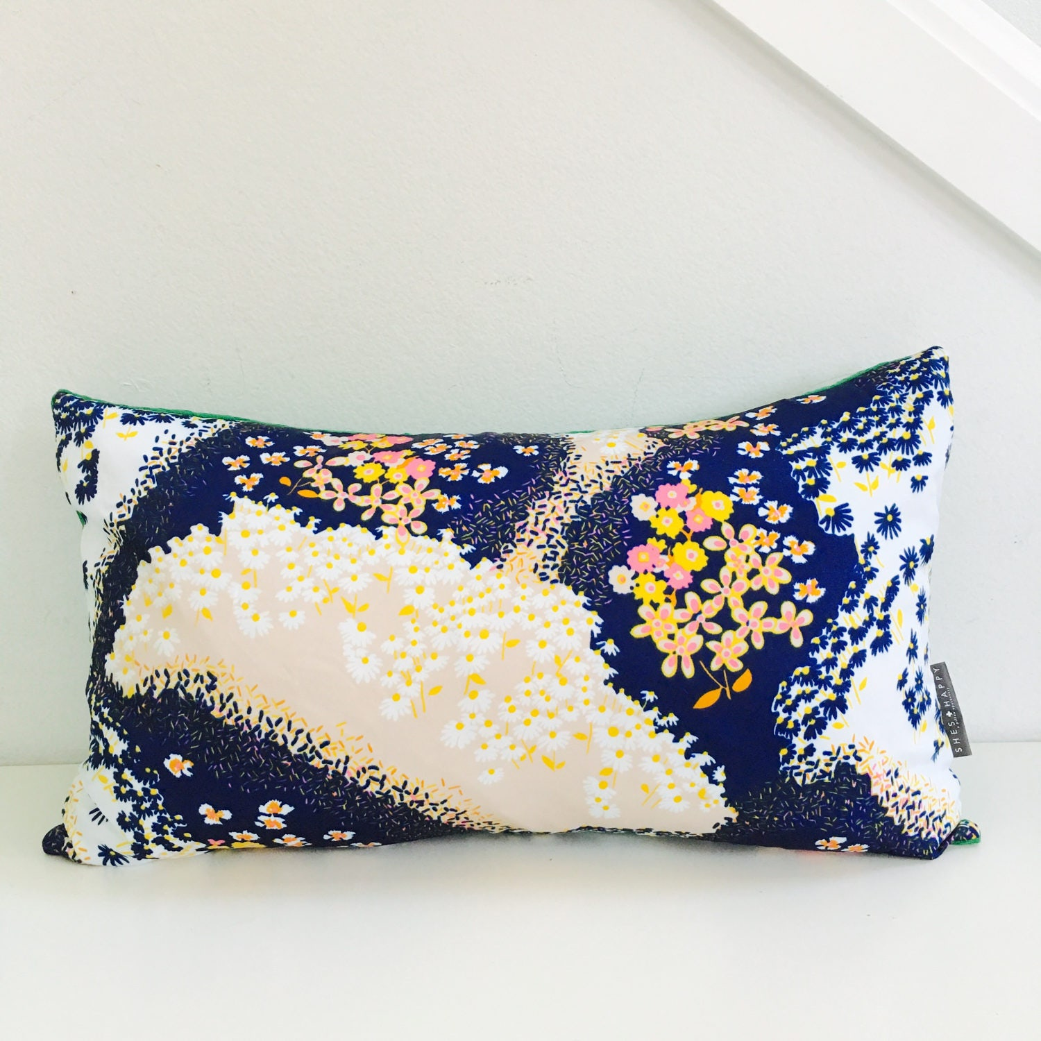 Sale Navy Blue Floral Pillow Cover 14x24 Lumbar Cushion Vintage