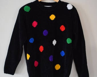 Vintage 90s Chenille Rainbow Dot Sweater, Women's Size Small / Vintage 1990s Fuzzy Sweater Black Polka Dots / Vintage Clothing