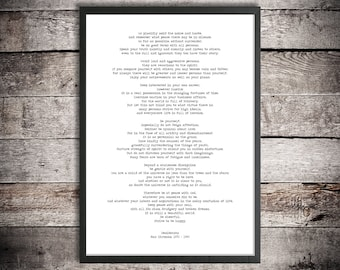 Desiderata By Max Erhmann 8x10 Printable Download File