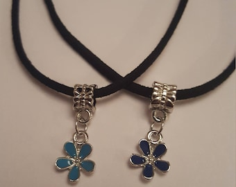 """Made to Order: LIGHT or DARK BLUE Flower Charm Pendant on a Black 19"""" Suedette Cord Necklace"""