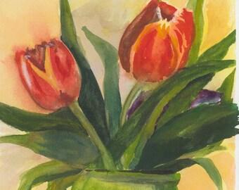 Tuliip Trio - Original Watercolor