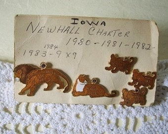 Five Piece Lion's Club Trading Pins from Newhall, Iowa 1980 to 84. Lion, Lioness and three Cubs