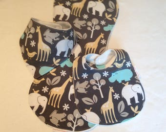 Baby Boy Bib/ Burp Cloth Gift Set/Safari Animals/Create Your Own Baby Shower Gift