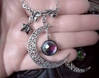 Moon Necklace, Mystic Topaz Necklace, Moon and Star, Moon and Cat, Galaxy Pendant, Witch Necklace