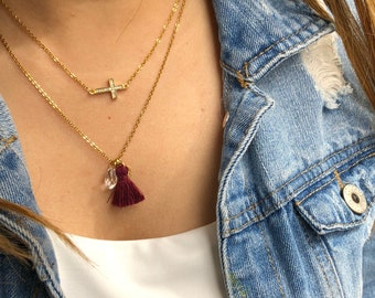 Cross and Tassel necklace.