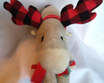 Sock Reindeer - One of a Kind - Buffalo Plaid - Sock Toy - Handmade