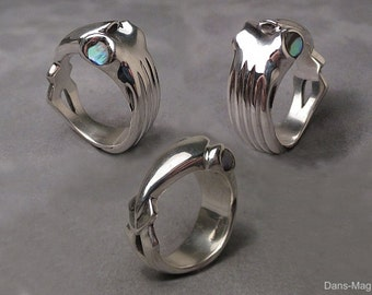 Squid ring - Sterling silver - Paua shell eye