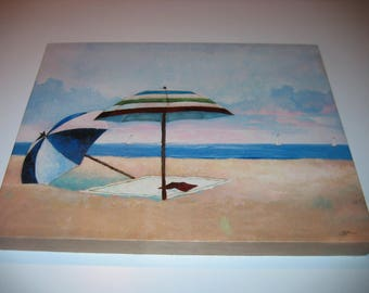 "Beautiful BEACH ART on stretched canvas  11"" by 14"" Wooden Frame Signed"