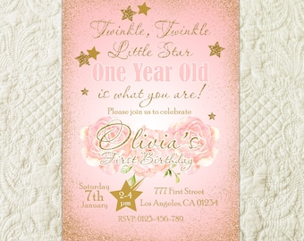 Twinkle Twinkle Little Star Birthday Invitation, Twinkle Twinkle Little Star First Birthday Party Invite, Star Pink Gold Glitter Invitation