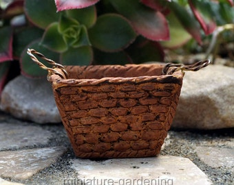 French Laundry Basket for Miniature Garden, Fairy Garden
