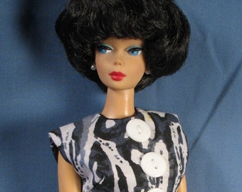 Barbie Clothes - Abstract Black, White and Gray Print Sheath Dress