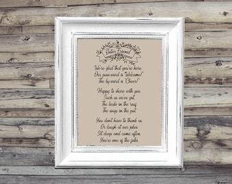 Enter Friend Poem Farmhouse Printable