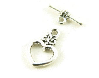 Antique Silver Plated Heart with Celtic Knot Accent Toggle Clasp -  10 sets - Jewelry Supply - Jewelry Findings
