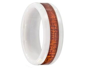 Ceramic Wedding Band,Koa Wood Ring,Koa Ring,Band,Ring,Engagement Ring,Anniversary Ring,Handmade,Custom,8mm,Koa Band,Koa Wood Inlay