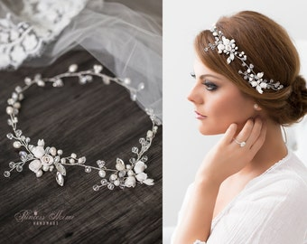 Bridal Vintage Headpiece Freshwater Pearls Hair vine with Pearls & Rhinestones in Ivory, Silver Wired Crystals  Wedding Adornment