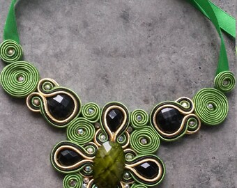 soutache Green Cross Necklace