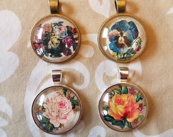 4 Pendant Set - Flowers