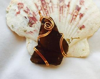 Small Amber Sea Glass Pendant Necklace