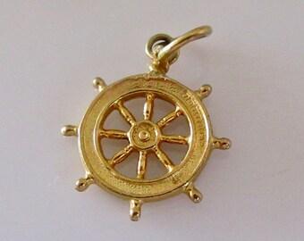 9ct Gold Ships Wheel Charm