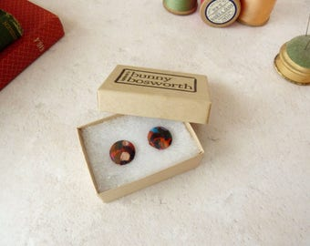 Red Stud Earrings - Red Fabric Studs - Red Button Earrings - Liberty Stud Earrings - Gift for Sister - Stocking Stuffer - Clip On Earrings