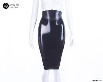 Snake Belt Latex Pencil Skirt With Full Back Zip