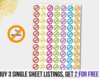No Smoking Stickers, Erin Condren Stickers, Filofax Stickers