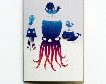 Kraken friends card, octopus, whale, jellyfish and birds blank greeting card