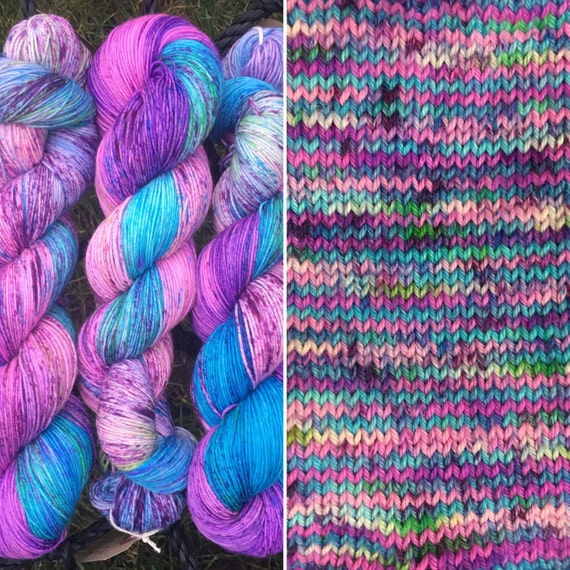 Blue Raspberry BFL, speckled indie dyed bluefaced leicester nylon blend sock yarn