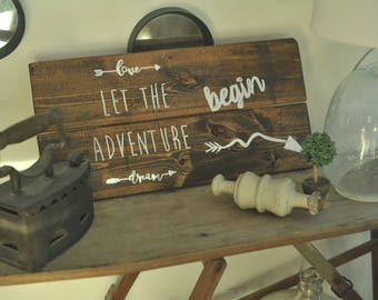 wood signs, painted signs, signs with sayings, let the adventure begin