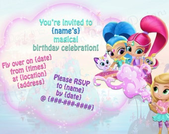 Digital download pj masks birthday party invitations a7 printable shimmer and shine birthday party invitationsprint at home nick jr show filmwisefo Images