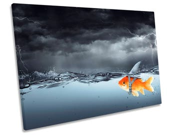 Goldfish Shark Fin Bathroom Grey CANVAS WALL ART Framed Picture Print