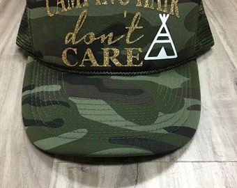 Camping Hair Don't Care Trucker Hat Mesh Camping Desert Riding Country Women's Ocotillo Glamis Dunes