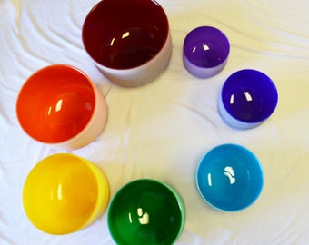 """Singing Bowl with mallets & rubber rings, Chakra Set of 7 Bowls Colored Frosted Crystal Singing Bowl 8""""-14"""""""