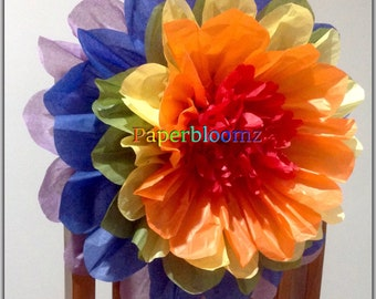 Set of 5 x Large Rainbow Paper flowers bulk wedding flowers backdrops party birthdays special events wall decorations chair decorations