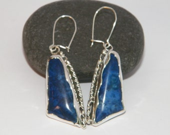 Handcrafted Hammered and Oxidized .925 Sterling Silver Dangle Earrings With Lazurite Stones