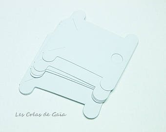 1 x set of 6 note cards sort, white - sewing notions storage