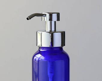 Apothecary Blue Glass Foaming Soap Dispenser with Chrome Metal Pump